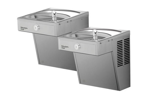 Halsey Taylor Cooler, Wall Mount, Bi-Level, GreenSpec, ADA, Vandal-Resistant, Non-Filtered, 8 GPH, Stainless