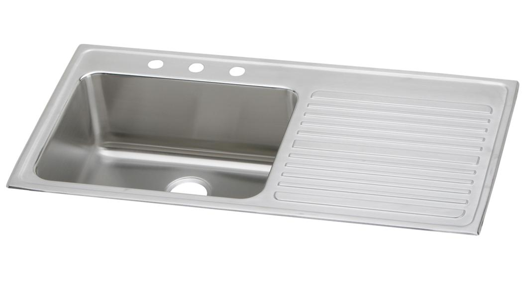 "Elkay Lustertone Classic Stainless Steel 43"" x 22"" x 10"", Single Bowl  Drop-in Sink with Drainboard ILGR4322L"