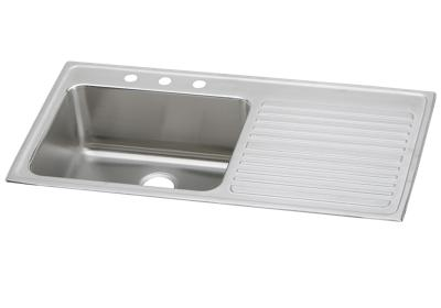 "Image for Elkay Lustertone Stainless Steel 43"" x 22"" x 10"", Single Bowl Top Mount Sink with Drainboard from ELKAY"