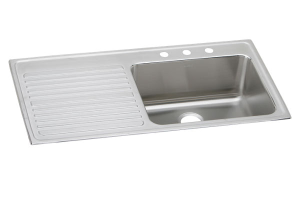 "Elkay Lustertone Stainless Steel 43"" x 22"" x 10"", Single Bowl Top Mount Sink with Drainboard"