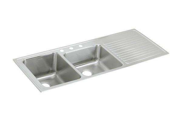 "Elkay Lustertone Stainless Steel 54"" x 22"" x 10"", Offset Double Bowl Top Mount Sink with Drainboard"