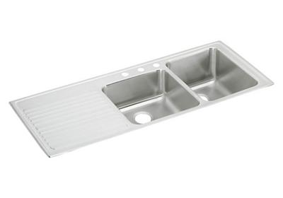 "Image for Elkay Lustertone Stainless Steel 54"" x 22"" x 10"", Offset Double Bowl Top Mount Sink with Drainboard from ELKAY"