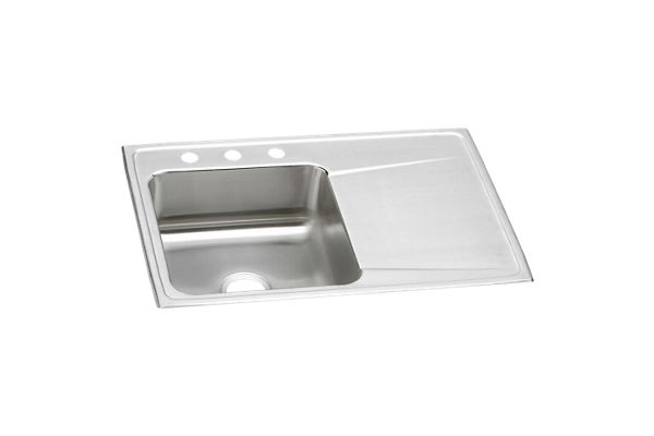 "Elkay Lustertone Stainless Steel 33"" x 22"" x 7-5/8"", Single Bowl Top Mount Sink with Drainboard"