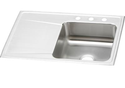 "Image for Elkay Lustertone Stainless Steel 33"" x 22"" x 7-5/8"", Single Bowl Top Mount Sink with Drainboard from ELKAY"
