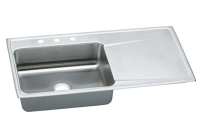 "Image for Elkay Lustertone Stainless Steel 43"" x 22"" x 7-5/8"", Single Bowl Top Mount Sink with Drainboard from ELKAY"