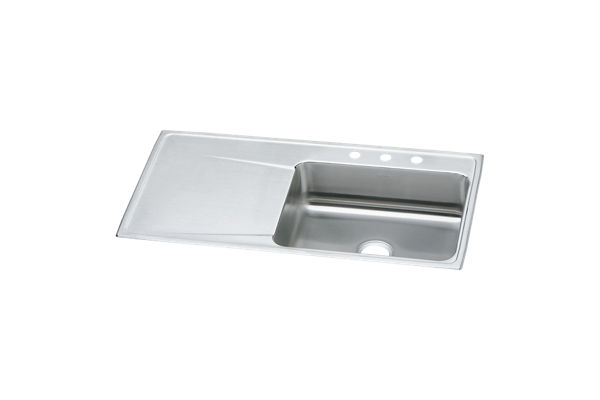 "Elkay Lustertone Stainless Steel 43"" x 22"" x 7-5/8"", Single Bowl Top Mount Sink with Drainboard"