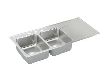 "Image for Elkay Gourmet Stainless Steel 48"" x 22"" x 7-5/8"", Equal Double Bowl Top Mount Sink from ELKAY"
