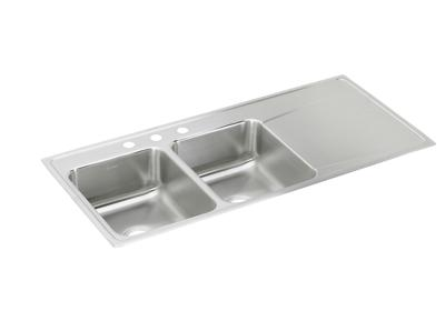 "Image for Elkay Lustertone Classic Stainless Steel 48"" x 22"" x 7-5/8"", Equal Double Bowl Drop-in Sink with Drainboard from ELKAY"