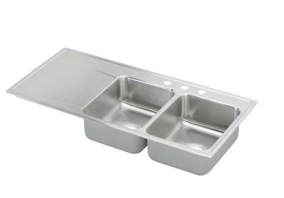 "Image for Elkay Lustertone Stainless Steel 48"" x 22"" x 7-5/8"", Equal Double Bowl Top Mount Sink with Drainboard from ELKAY"