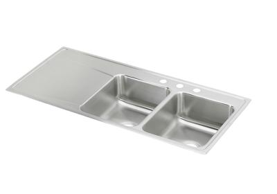 "Image for Elkay Lustertone Classic Stainless Steel 48"" x 22"" x 7-5/8"", Equal Double Bowl Top Mount Sink with Drainboard from ELKAY"