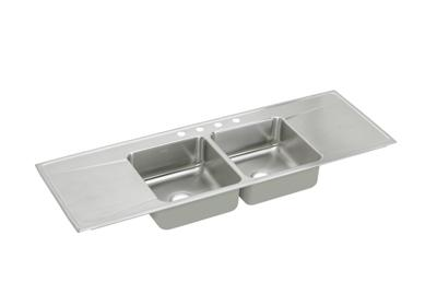 "Image for Elkay Lustertone Stainless Steel 66"" x 22"" x 7-5/8"", Equal Double Bowl Top Mount Sink with Drainboard from ELKAY"