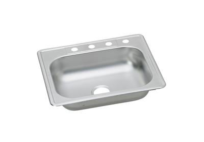 "Image for Dayton Stainless Steel 25"" x 22"" x 6-1/16"", Single Bowl Top Mount Sink with J Channels from ELKAY"