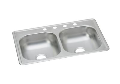 "Image for Dayton Stainless Steel 33"" x 19"" x 6"", Equal Double Bowl Top Mount Sink from ELKAY"