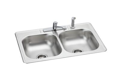 "Image for Dayton Stainless Steel 33"" x 22"" x 6-1/16"", Equal Double Bowl Drop-in Sink and Faucet Kit from ELKAY"
