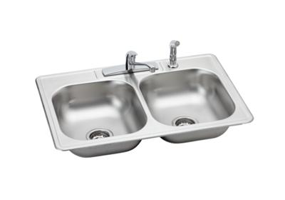 "Image for Dayton Stainless Steel 33"" x 22"" x 6-1/16"", Equal Double Bowl Top Mount Sink and Faucet Kit from ELKAY"