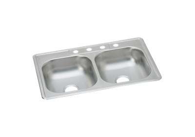 "Image for Dayton Stainless Steel 33"" x 22"" x 6-1/16"", Equal Double Bowl Top Mount Sink with J Channels from ELKAY"