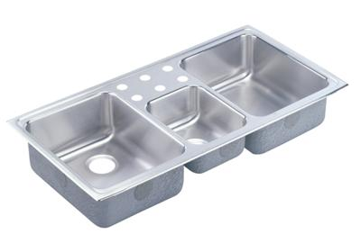 "Image for Elkay Gourmet Stainless Steel 43"" x 22"" x 7-7/8"", Triple Bowl Top Mount Sink from ELKAY"