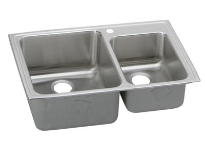 "Image for Elkay Lustertone Stainless Steel 33"" x 22"" x 10"", Offset 60/40 Double Bowl Top Mount Sink from ELKAY"