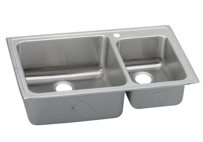 "Image for Elkay Lustertone Stainless Steel 37"" x 22"" x 10"", Offset 60/40 Double Bowl Top Mount Sink from ELKAY"