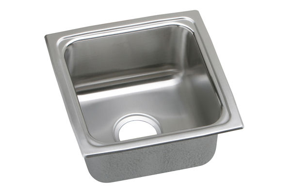 "Elkay Lustertone Stainless Steel 15"" x 15"" x 5-1/2"", Single Bowl Top Mount Bar Sink"