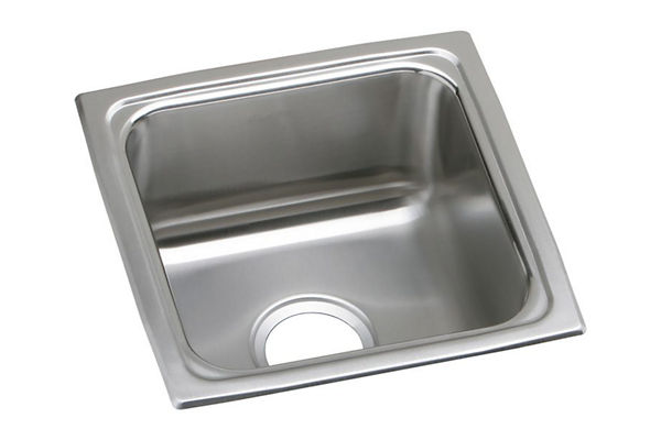 "Elkay Lustertone Stainless Steel 15"" x 15"" x 5-1/2"", Single Bowl Top Mount Bar ADA Sink"