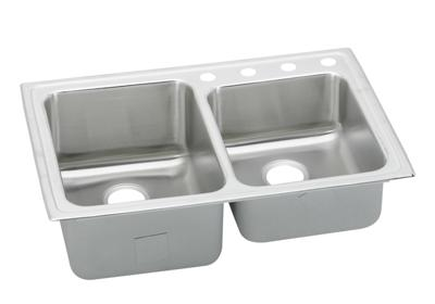 "Image for Elkay Lustertone Stainless Steel 33"" x 22"" x 10"", Offset Double Bowl Top Mount Sink from ELKAY"