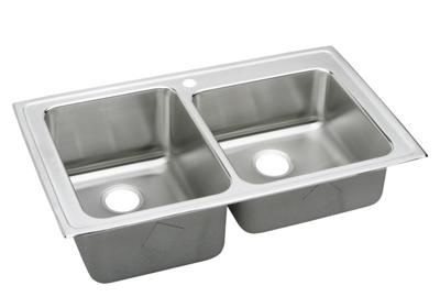 "Image for Elkay Lustertone Stainless Steel 37"" x 22"" x 10"", Offset Double Bowl Top Mount Sink from ELKAY"