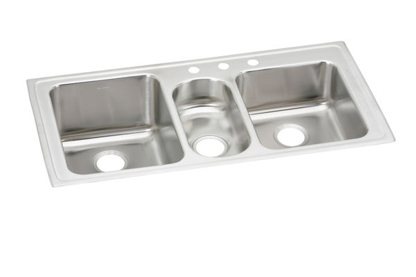 "Elkay Lustertone Stainless Steel 43"" x 22"" x 10"", Triple Bowl Top Mount Sink"