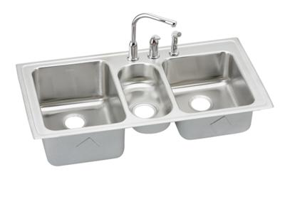"Image for Elkay Lustertone Stainless Steel 43"" x 22"" x 10"", Triple Bowl Top Mount Sink + Faucet Kit from ELKAY"