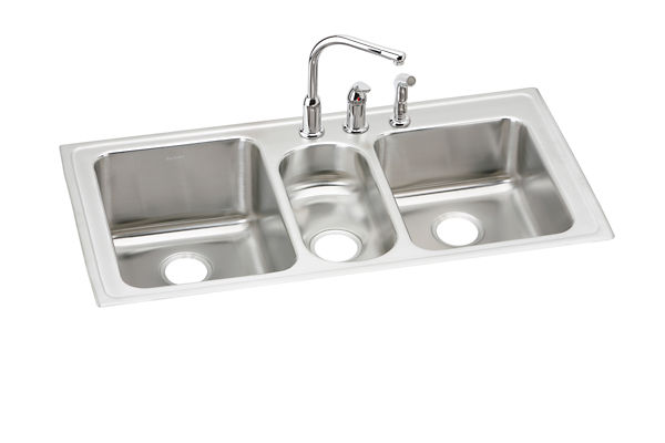 "Elkay Lustertone Classic Stainless Steel 43"" x 22"" x 10"", Triple Bowl Drop-in Sink + Faucet Kit"