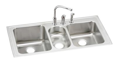 "Image for Elkay Lustertone Classic Stainless Steel 43"" x 22"" x 10"", Triple Bowl Top Mount Sink + Faucet Kit from ELKAY"