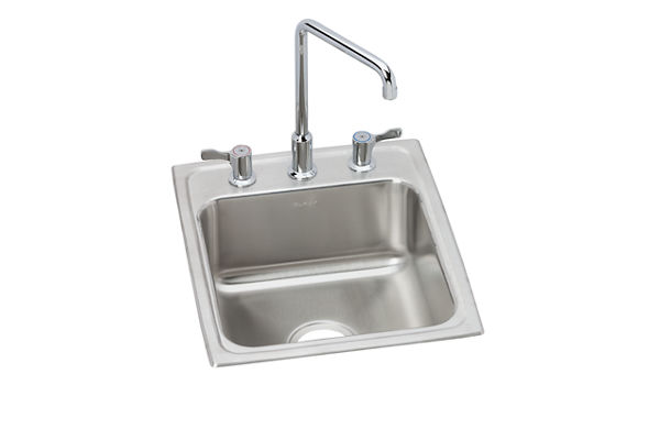 "Elkay Lustertone Classic Stainless Steel 17"" x 20"" x 7-5/8"", Single Bowl Drop-in Bathroom Sink + Faucet Kit"