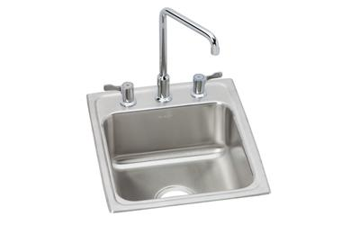 "Image for Elkay Lustertone Stainless Steel 17"" x 20"" x 7-5/8"", Single Bowl Top Mount Bathroom Sink + Faucet Kit from ELKAY"