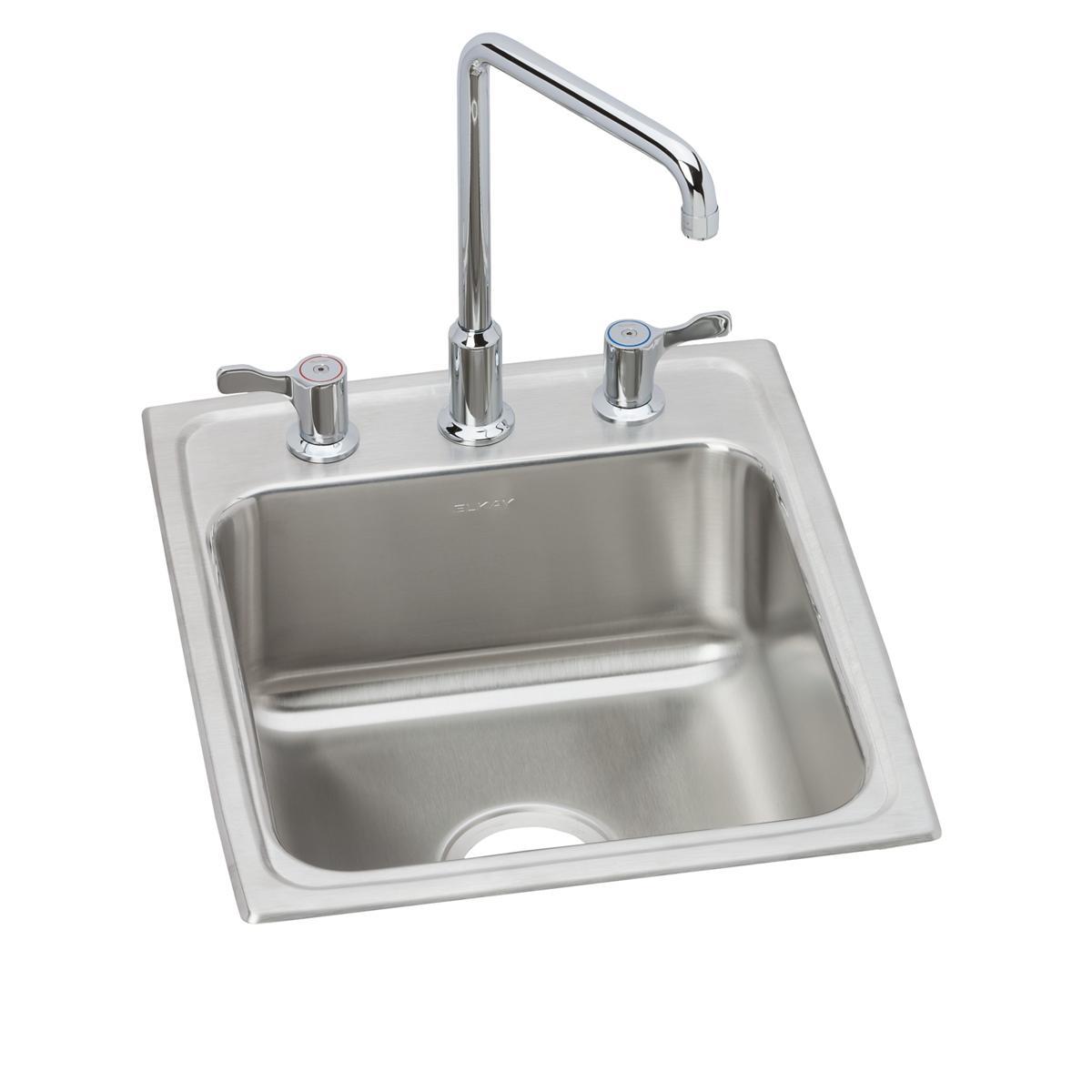 """Elkay Lustertone Classic Stainless Steel 17"""" X 20"""" X 7-5/8"""", Single Bowl Drop-in Bathroom Sink + Faucet Kit"""