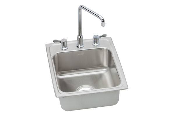 "Elkay Lustertone Stainless Steel 17"" x 20"" x 7-5/8"", Single Bowl Top Mount Bathroom Sink + Faucet Kit"
