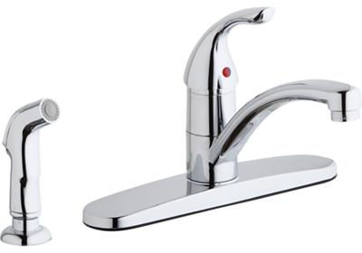 Image for Elkay Three Hole Deck Mount Everyday Kitchen Faucet with Lever Handle and Side Spray and Escutcheon Chrome from ELKAY