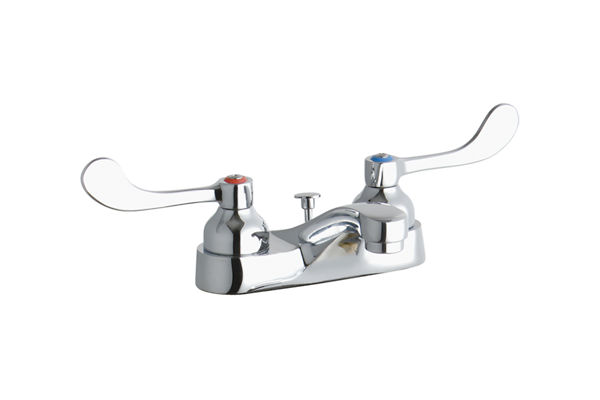 "Elkay 4"" Centerset with Exposed Deck Faucet with Pop-up Drain Integral Spout 4"" Wristblade Handles"