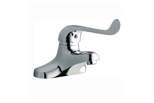 "Elkay 4"" Centerset with Exposed Deck Lavatory Faucet Integral Spout Single Control 7"" Wristblade Handle Chrome"