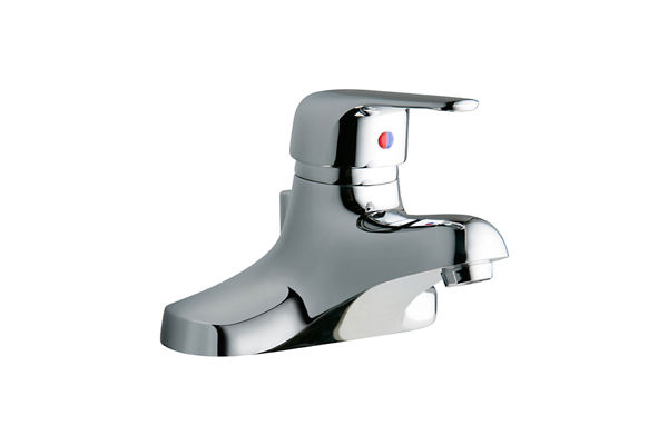 "Elkay 4"" Centerset with Exposed Deck Lavatory Faucet Pop-Up Drain Integral Spout Single Control 4"" Wristblade Handle"