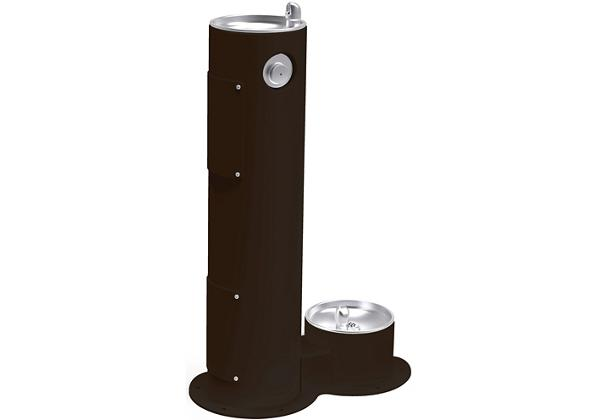Image for Halsey Taylor Endura II Tubular Outdoor Fountain, Pedestal with Pet Station Non-Filtered, Non-Refrigerated Black from Halsey Taylor