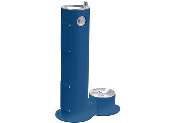 Image for Halsey Taylor Endura II Tubular Outdoor Fountain, Pedestal with Pet Station Non-Filtered, Non-Refrigerated Blue from Halsey Taylor