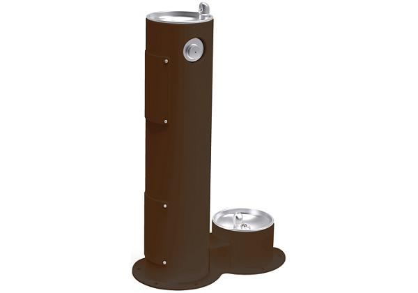 Image for Halsey Taylor Endura II Tubular Outdoor Fountain, Pedestal with Pet Station Non-Filtered, Non-Refrigerated Brown from Halsey Taylor