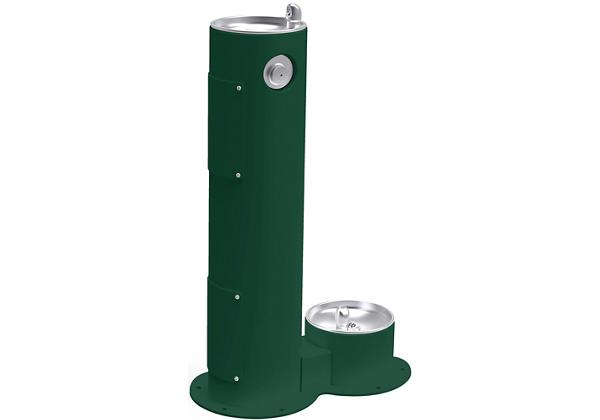 Image for Halsey Taylor Endura II Tubular Outdoor Fountain, Pedestal with Pet Station Non-Filtered, Non-Refrigerated Evergreen from Halsey Taylor