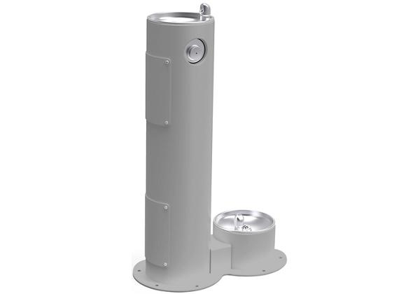 Image for Halsey Taylor EnduraII Tubular Outdoor Fountain, Pedestal with Pet Station, Non-Filtered, Non-Refrigerated, Gray from Halsey Taylor