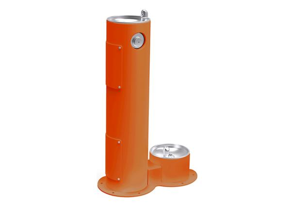 Image for Halsey Taylor Endura II Tubular Outdoor Fountain, Pedestal with Pet Station Non-Filtered, Non-Refrigerated Orange from Halsey Taylor