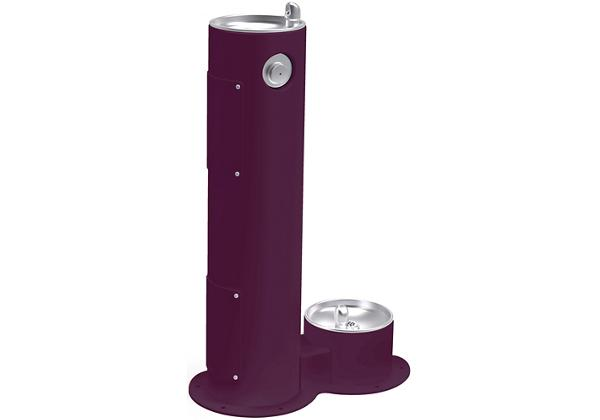 Image for Halsey Taylor EnduraII Tubular Outdoor Fountain, Pedestal with Pet Station, Non-Filtered, Non-Refrigerated, Purple from Halsey Taylor