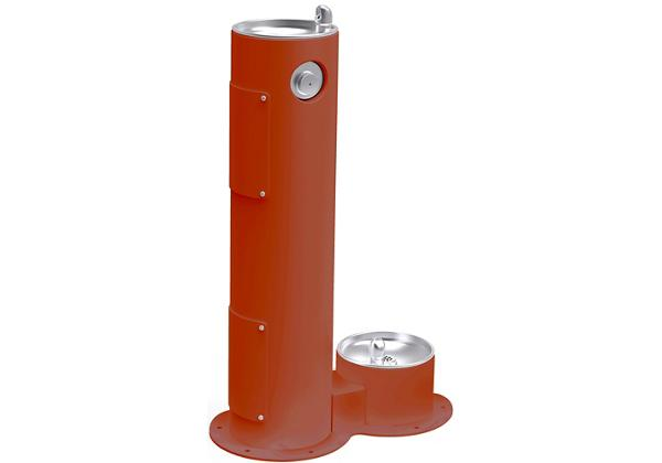 Image for Halsey Taylor EnduraII Tubular Outdoor Fountain, Pedestal with Pet Station, Non-Filtered, Non-Refrigerated, Terracotta from Halsey Taylor