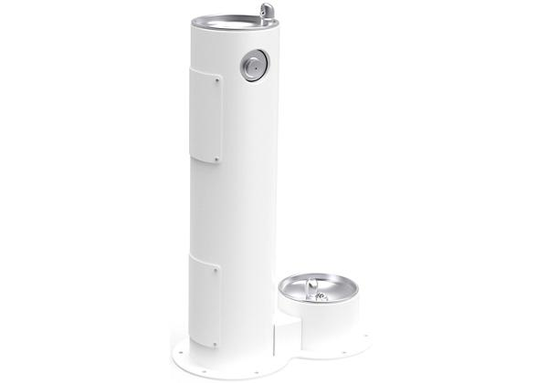 Image for Halsey Taylor EnduraII Tubular Outdoor Fountain, Pedestal with Pet Station, Non-Filtered, Non-Refrigerated, White from Halsey Taylor