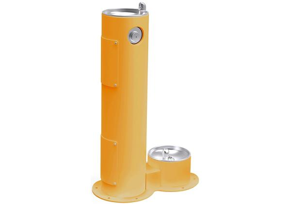 Image for Halsey Taylor Endura II Tubular Outdoor Fountain, Pedestal with Pet Station Non-Filtered, Non-Refrigerated Yellow from Halsey Taylor