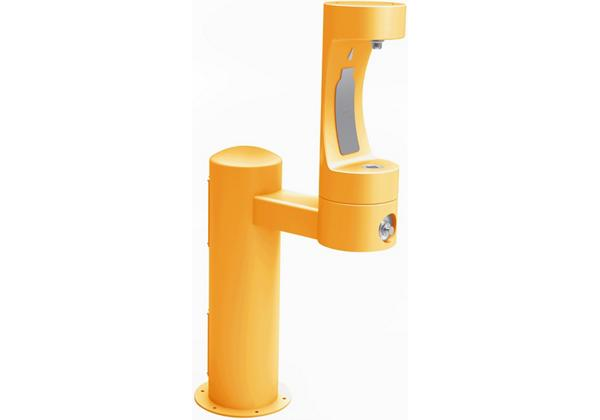 Image for Halsey Taylor Endura II Outdoor HydroBoost Bottle Filling, Station Pedestal Non-Filtered NonRefrige Freeze Resistant, Yellow from Halsey Taylor